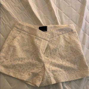 white lace-detailed cynthia rowley shorts